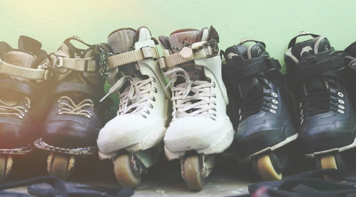 done and dusted: row of skates