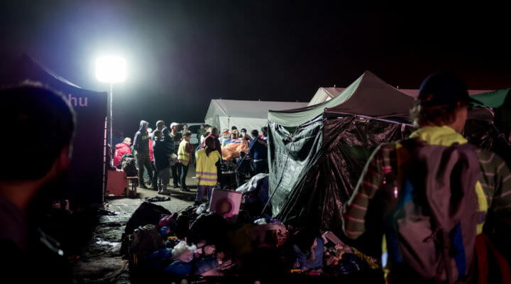 tents set up to shelter refugees for the night