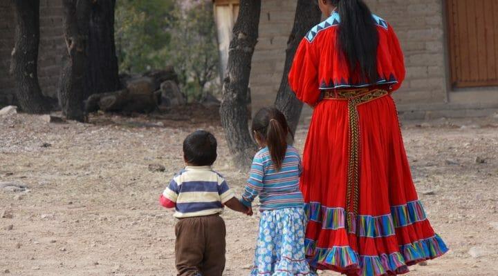 Tarahumara woman with two small children