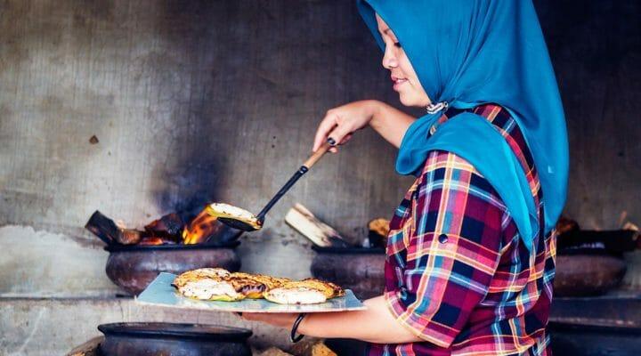 Sumatran girl cooking