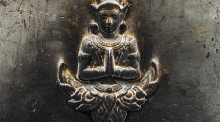 closeup on buddhist shrine