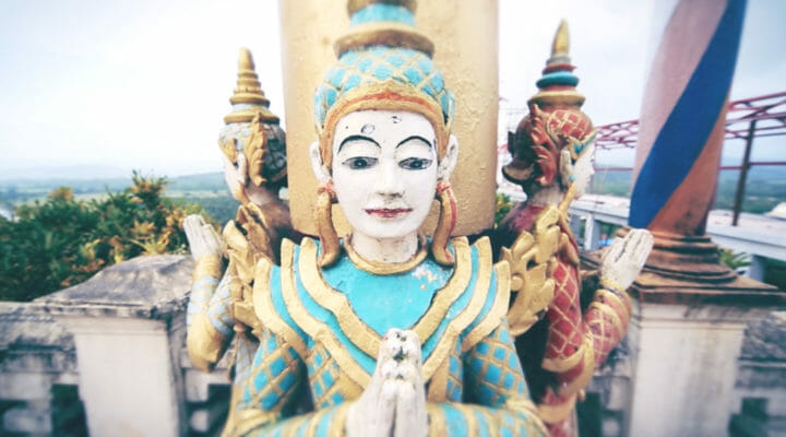 closeup of a Buddhist idol in Myanmar