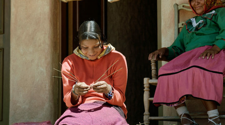 Tarahumara woman knitting