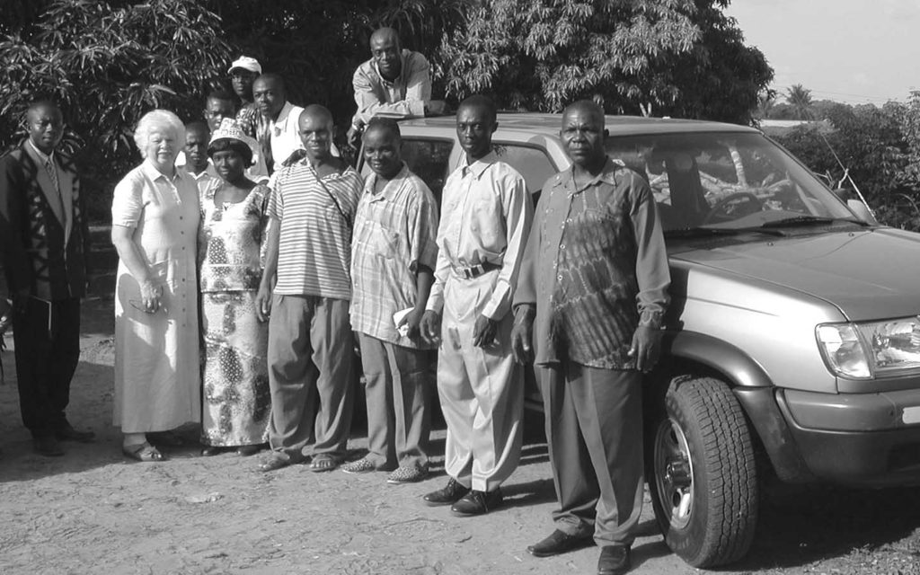 Peggy Fletcher with Ghanaian missionaries, 2004.