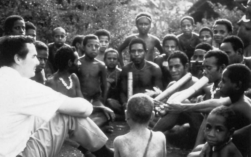 Ted Fletcher with members of the Biami tribe of Papua New Guinea.