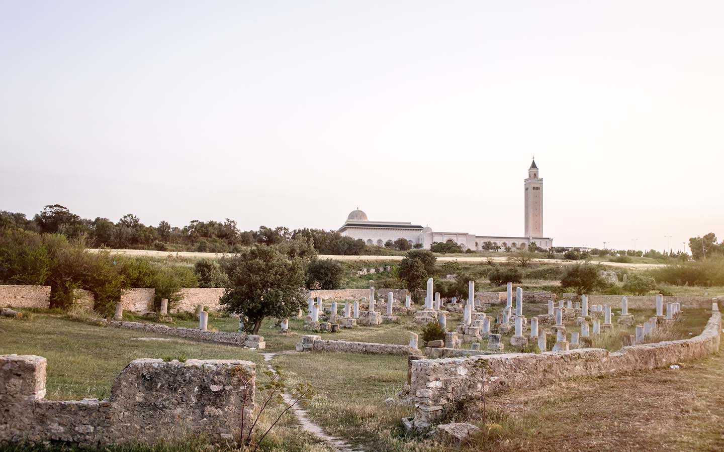 photo of basilica ruins with mosque in background