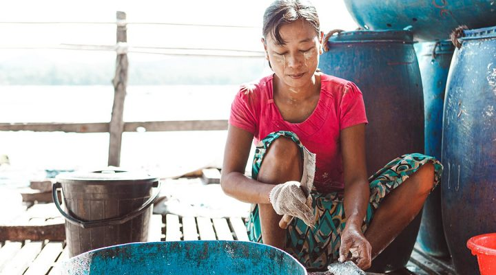 a woman in Southeast Asia cuts up and cleans fish