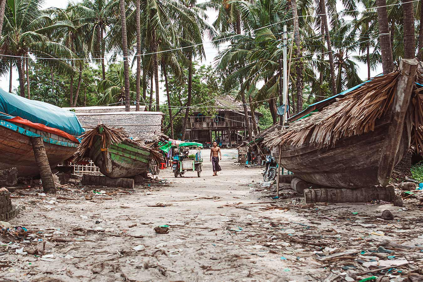Village scene with boats - fishing village in Southeast Asia