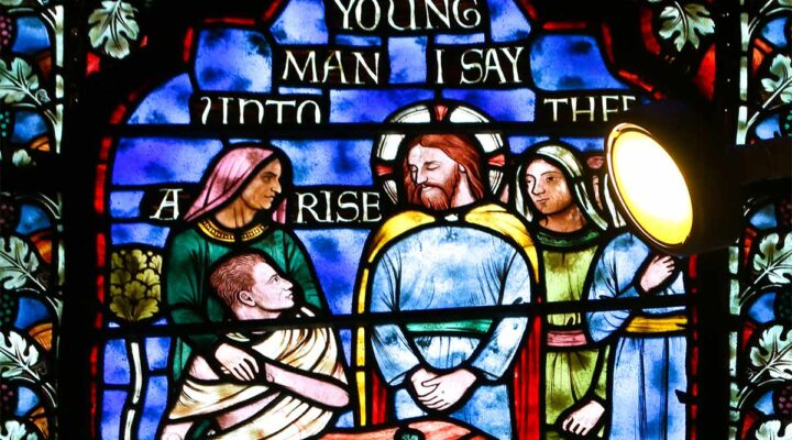 Bible Story - Jesus heals the widow's son - stained glass window from National Cathedral, Washington DC